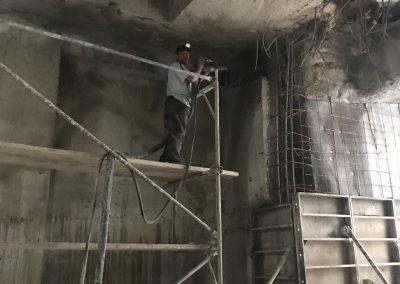 Торкретиране на римски стени на 12-та метростанция, гр София