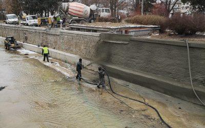 Укрепване на речно корито с торкрет бетон